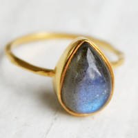 SALE - Gold Blue Labradorite Teardrop Ring - Delicate Band - Stackable Ring - Marked Down