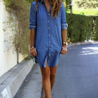 Long Sleeve Denim T Shirt Dress 11220