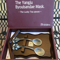 "Lucky Tea spoons, Peweter Spoons, Funny Spoons, Funny Gift, Byoulsandae Mask, The Yangju Byoulsandae Mask ""The Lucky Tea Spoon"" Set"