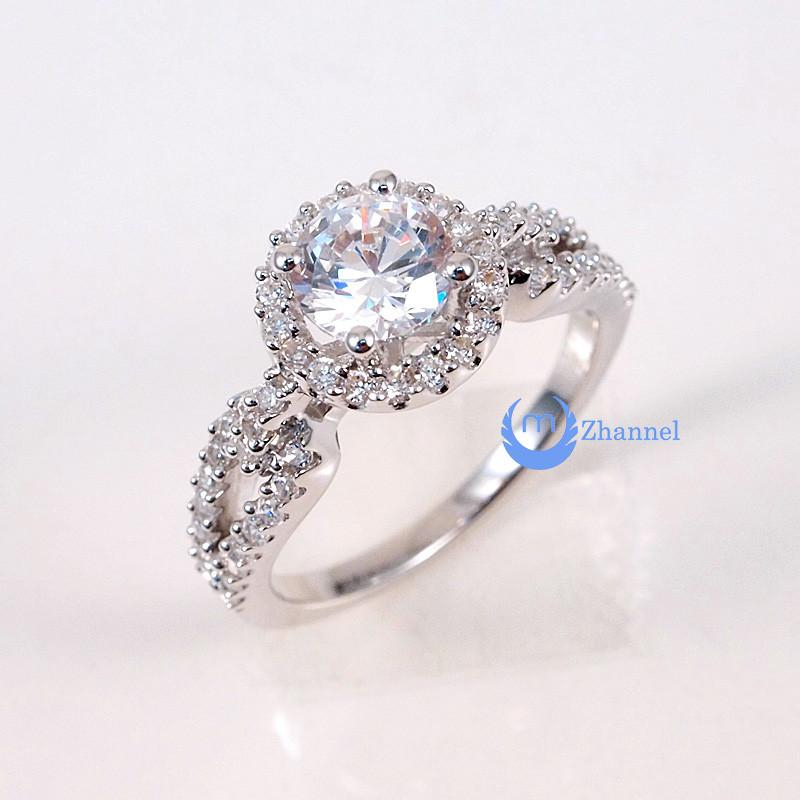 Image of 1ct Engagement Solitaire RING w/Accent Signity CZ Rhodium over Sterling Silver