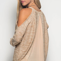 Cold Shoulder Chiffon Contrast Sweater - Taupe