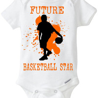 """New Baby Gift: """"Future Basketball Star"""" Infant Shirt! Sports / Sporty Baby Boy! Embellished Gerber Onesuit brand body suit - Orange"""