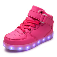 Girls light up led luminous kids shoes color glowing casual fashion boy with new simulation sole charge for children neon basket