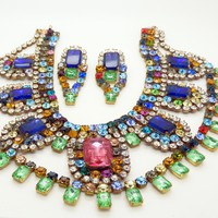 Bijoux M.G. Czech Glass Multicolored Statement Necklace and Pierced Style Earring Set