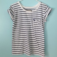 Abercrombie & Fitch Striped Blue & White Shirt