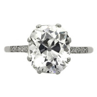 Golconda Cushion Shaped Old Mine Diamond Ring GIA 3.58cts