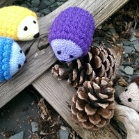 Rainbow Coloured Knitted Hedgehogs