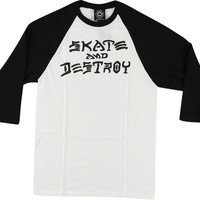 Thrasher Skate & Destroy Raglan 3/4 Sleeve XL White/Black