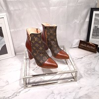 lv louis vuitton trending womens men leather side zip lace up ankle boots shoes high boots 3