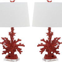 Coral Branch Table Lamp Set, Red, Table Lamps