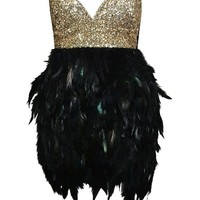 Bustier Feather and Sequins Dress