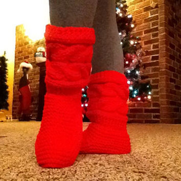 Valentine's Day Gift Cabled Button Slipper Boots, Knit Cable Slippers, Red Slipper Boots, Slippers