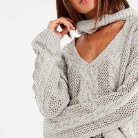 UO Cable Knit Cut-Out Sweater | Urban Outfitters