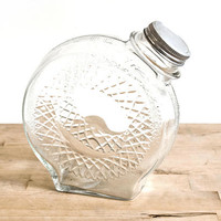 Vintage Glass Refrigerator Water Bottle, Round Juice Container Jug with Criss Cross Pattern, 1940s