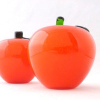 Vintage Glass Apples, Hand Blown Glass Red Apples 1960s Glass Fruit Teachers Gift Kitchen Decor Classroom Paperweight