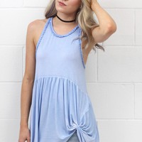 Smocked Mineral Wash Get Twisted Tank  {sky Blue}