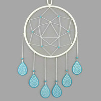 White dreamcatcher with turquoise blue drops, modern and sweet dreamcatcher, pastel dreamcatcher, wall decor for kid's room, home decor