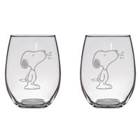 Snoopy Blowing Raspberry Engraved Glasses Peanuts Charlie Brown Gift