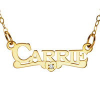 NAME NECKLACE WITH SCROLL AND DIAMOND - GOLD