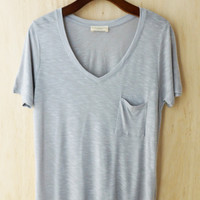 Perfectly Imperfect One-Pocket Shabby Tee, Silver Gray