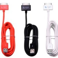 MFi USB Charger Manufactured under the MFi Program - Bundle of 3 Extra Long Extra Thick 6.5 Feet Cables for Apple iPhone 4, 4s, 3gs, 3g iPod touch 1, 2, 3, 4, iPad 1, 2, 3 for Sync and Charging (Black + White + Red)