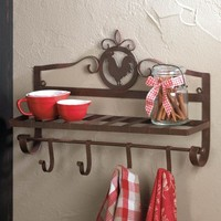 Country Rooster Silhouette Wall Rack
