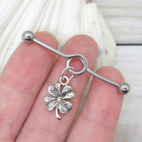 Antique silver clover industrial barbell, body jewelry ,industrial piercing,double piercing,belly button rings,clover industrial bar earring