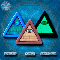 EyeGloArts Gold and Mauve GLOW in the dark jewelry Illuminati all seeing eye pyramid pendant clubwear blacklight Psytrance rave candy
