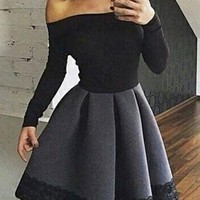 Black Off Shoulder Grey Skirt Homecoming Dress