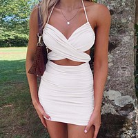 Mini Sexy Dresses Ruched Halter Party Night Backless Bandage Club Summer Dresses Women