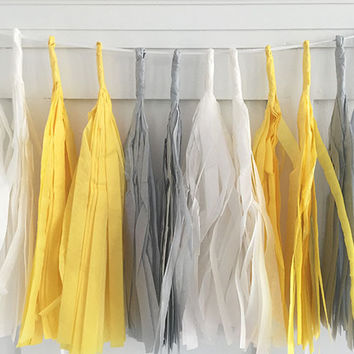 Gray and Yellow Tissue Paper Tassel Pennant