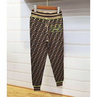 FENDI Popular Women Casual F Letter jacquard Knit Sport Pants Trousers Sweatpants Coffee/Green