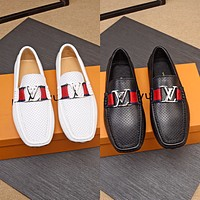 LV Louis Vuitton Men's Leather Fashion Loafers Shoes