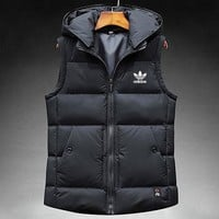 ADIDAS 2018 new autumn and winter warm casual light sports down cotton vest Black