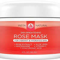 InstaNatural Facial Rose Mask - Skin Brightening Mask For Face With Vitamin C, Hyaluronic Acid, Niacinamide, Aloe Vera & More - This Whitening Masque is Made With Fresh Rose Petal Extract - 4 OZ