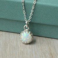 Opal necklace - sterling silver - cable chain - 8 mm simulated while opal in crown setting - gift for bridesmaid - bridal necklace - wedding