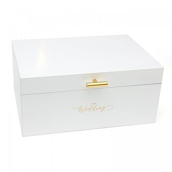 Elegant White Wooden Wedding Card Box