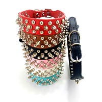 "XXS XS S M L Dog Collars Fashion PU Leather Pet Collar Puppy Dog Cat Rivet Collars Dogs Necklaces Harness Decor 1.0"" Width"