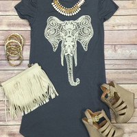 Crochet Elephant Tunic: Grey