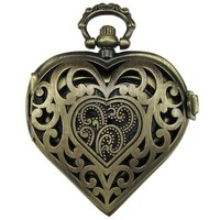 CAETLE® Steampunk Love Heart Hollow Surface Pocket Watch Pendant Bronze Vintage Style Heart With Filigree