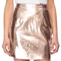 MapleClan Women's Sexy Flash Faux Leather Champagne Pencil Skirt - L
