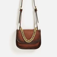 LEATHER CROSSBODY BAG WITH CHAIN DETAILS
