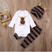Baby Boys Clothing Sets Xmas Little moose Newborn Baby Boy Girls Clothes Long Sleeve Romper Jumpsuit Long Pants +hat Outfits