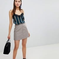 New Look Leather Look Mini Skirt at asos.com