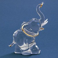 Elephant Glass Figurine w/ Swarovski Elements and 22k Gold Gilding