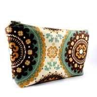 Seafoam and Brown Neutral Bohemian Pencil Case or Makeup Bag. Long, Zippered, Travel, School or Work, Ponco Style