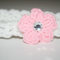 White and Pink Crocheted Headband with Pink bow and gem Newborn- Adult