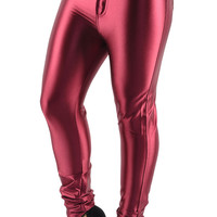 BadAssLeggings Women's Shiny Disco Pants Small Maroon