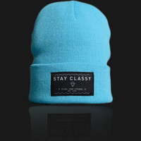 Plug and String Clothing — STAY CLASSY BEANIE | ski blue