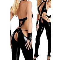 Sexy Leather Outfi for Women Black Zipper Top Chaps cosplay bodysuit for adult sex apparel hollow out catsuit deep V jumpsuit